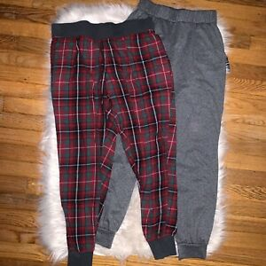 Women's Lounge Jogger Pants Gray Red Plaid Victoria's Secret Bottoms Small