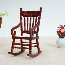 Doll House Miniature Furniture Classic coffee Wooden Rocking Chair 1:12 Scale UK