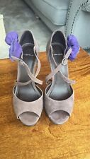 Size 7 Carvela high heel shoes in grey suede with purple suede flowers