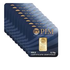 Goldbarren 10Stk. 0,1g zertifiziertes Feingold