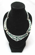 STERLING SILVER MALACHITE STONE INLAY STATEMENT NECKLACE MEXICO  ***