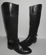 Tory Burch Lizzie Leather Riding Boots Black Sz 6
