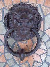 heurtoir , frappe porte en fonte patinée bronze,sonnette , nouveau !!! lion