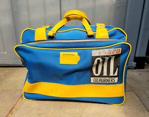 Vintage Blue Canvas & Yellow Leather Selkirk Electro Oil Burners Holdall Bag