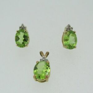 10k Yellow Gold Peridot Earring Pendant Set