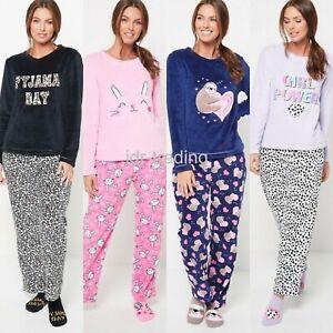 Ladies Womens SUPERSOFT FLEECE Pyjamas and Matching Socks Cosy PJ SET UK 8-26