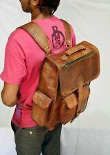 Leather Bag Backpack Rucksack Laptop Brown Messenger Bag