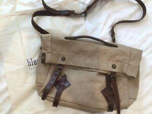 Bleu De Chauffe bag. Filson bag. Canvas and leather messenger bag.