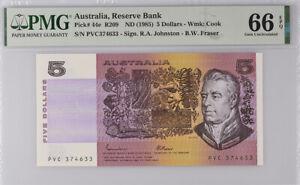 Australia 5 DOLLARS ND 1985 P 44 E JOHNSTON FRASER GEM UNC PMG 66 EPQ