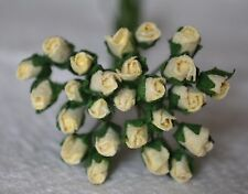 48 CREAM ROSE BUDS (S) Mulberry Paper Flowers wedding miniature