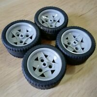 LEGO PARTS - X4 Wheels And Tyres 56 x 28ZR mm - Light Grey And Black  - Like New