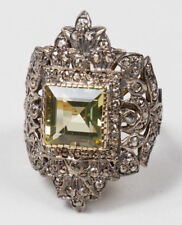 Victorian Look 925 Silver Cocktail Ring 3.20cts Rose Cut Diamond Peridot Antique