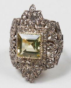 3.22cts ROSE CUT DIAMOND PERIDOT ANTIQUE VICTORIAN LOOK 925 SILVER COCKTAIL RING