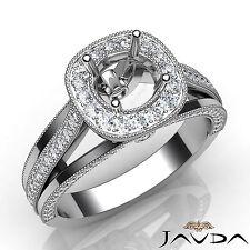 Diamond Engagement Round Semi Mount Millgrain Halo Pre-Set Ring Platinum 0.90Ct