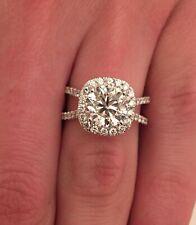 3.56 ct Round Cut F/VS1 Cushion Halo Diamond Engagement Ring 14K White Gold