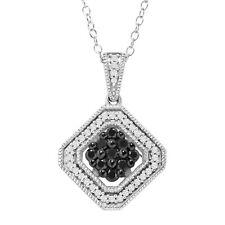 1/2 ct Black and White Diamond Tile Pendant in Sterling Silver