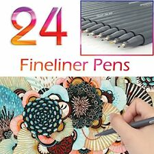 Fine Tip Writing Drawing Pens Set of 24 Colors Fine Line Art Coloring Markers