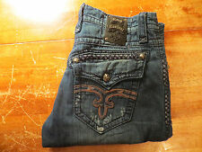 MENS ROCK REVIVAL BENJAMIN STRAIGHT (EUC) SIZE 39X32 SUPER AWESOME JEANS