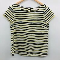 Ann Taylor LOFT Womens Medium Short Sleeve Striped Blouse Top Blue Green 803