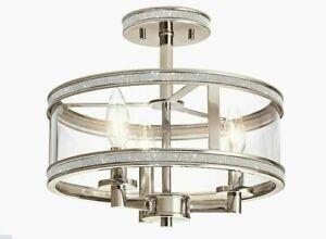 Kichler Angelica 13'' Polished Nickel Modern Incandescent Semi-flush Mount Light