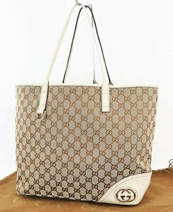 Authentic GUCCI Brown GG Canvas and Beige Leather Shoulder Tote Bag #38096