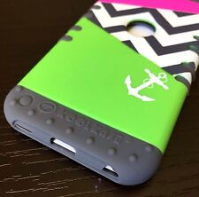 iPod Touch 5th 6th Gen - HARD&SOFT RUBBER HYBRID CASE GREEN PINK CHEVRON ANCHOR