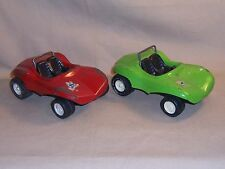 2 Vintage Tonka Fun Sand Dune Beach Buggy metal pressed steel red and green USA