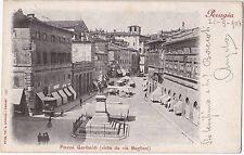 PERUGIA PIAZZA GARIBALDI DA VIA BAGLIONI CARTOLINA VIAGGIATA 1904