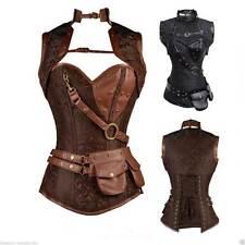 Steampunk Boned Corset Faux Leather Gothic Halloween Top Jacket 6-24 Bolero Sale