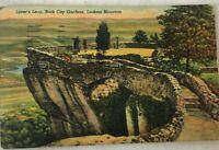 1940s Lookout Mountain TN Linen Postcard Lover's Leap in ROCK CITY GARDENS 1950