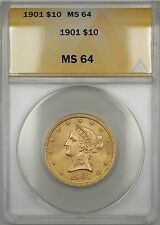 1901 $10 Ten Dollar Liberty Eagle Gold Coin ANACS MS-64 Very Choice BU BP