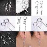 Stainless Steel Piercing/Non-piercing Dangle Tassel Earring Punk Hip Hop Mens