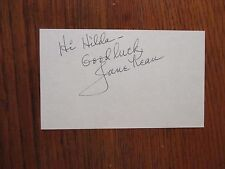 """JANE  KEAN(Died-2013)(""""The Honeymooners""""/""""Trixie Norton"""")Signed 3 x 5 Index Card"""