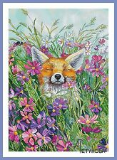 FOX Animals Flowers Counted Cross Stitch Chart Needlework Crafts Pattern PDF