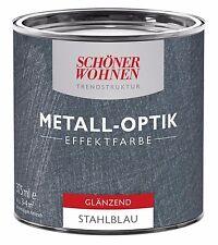 Schöner Wohnen Trendstruktur Effektfarbe Metall-Optik Stahlblau glänzend 375 ml