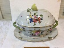 VTG Herend Hungary Large Vegetable Bowl Tureen Fruit & Flowers Lemon Handle 1103