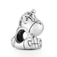 Genuine Pandora ALE 925 Sterling Silver Bruno The UNICORN Charm Bead +Free Pouch