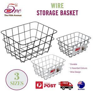 1x Wire Storage Basket Durable Metal Kitchen Cabinet Pantry Office Toy Organiser