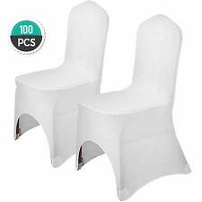 100pcs Couverture de Chaise Arqué Housses Blanc Elastique Mariage Décoration