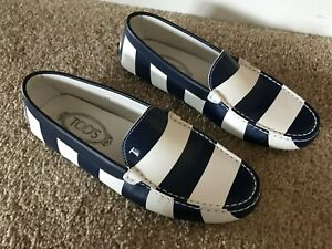 TODS TOD'S DRIVING LOAFERS MOCCASINS SLIP ON BLUE WHITE STRIPES LEATHER 37 US 7