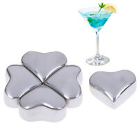 Love Shape Stainless Steel Ice Cubes Whiskey Red Wine Summer Iced Drink CJ