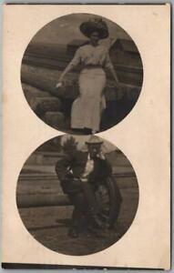 LARAMIE, Wyoming RPPC Photo Postcard Man & Woman in Railroad Yard 1910 Cancel