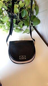 Kate Spade Leather Saddle Bag Roulette Small crossbody Black Beige