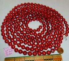 "Christmas Garland Mercury Red, 104"" Long, 7/16"" Beads, Eb4, Vintage"