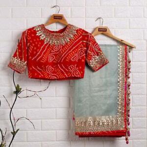 Party Saree Organza Silk Bandhani Blouse Fancy Border Women Ethnic Wedding Sari