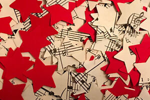 Rustic Star Wedding Table Decor/Confetti - Sheet Music/Notes & Red Paper Mix