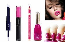 Loreal Infallible 3pc Fuchsia Pink Trio Set Nail Varnish & 2-step Lipstick Liner