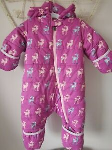 Hatley Baby Fawns Snowsuit with foldover cuffs 12-18 months