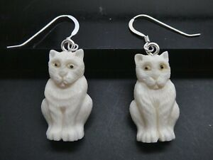Cat Whimsical Two Sided Sterling 925 Hand Carved Water Buffalo Bone Earrings
