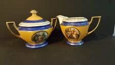Vintage Antique P.A.L.T. Czecho-Slavokian Sugar Bowl & Creamer set Blue Gold